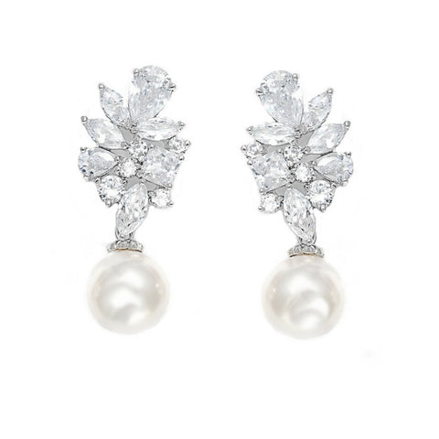 Joss Crystal and Pearl Drop Earrings
