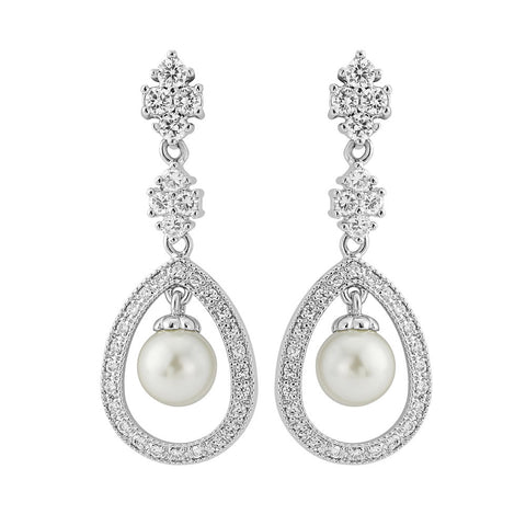 Lucille Crystal and Pearl Drop Earrings