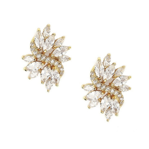 Crystal earrings made from high quality clear crystals on a rhodium gold tone finish, they measure 2.5cm long by 2cm wide