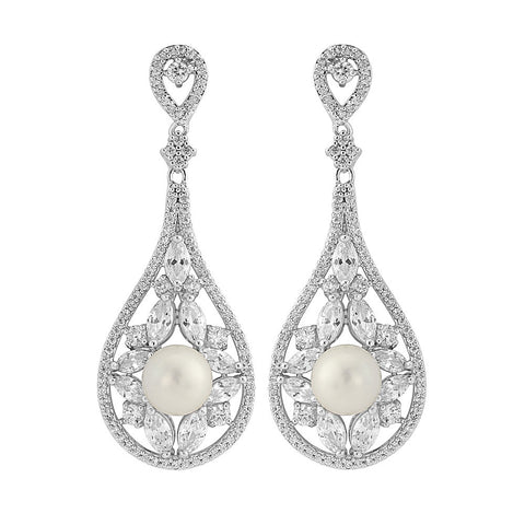 Petra Crystal and Pearl Earrings