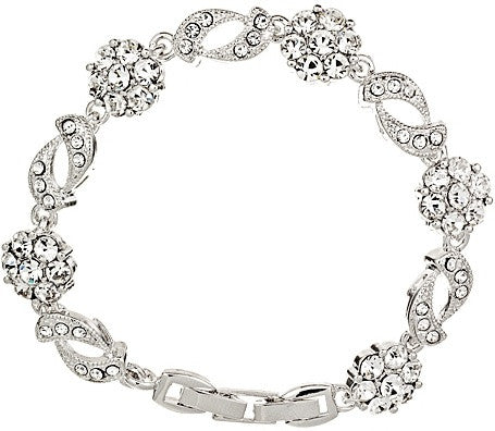 Crystal bracelet with luxury clear crystals on a silver tone finish, width 1.5cm.