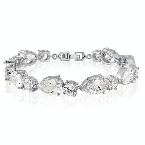 Silver Rhodium Plated Single Row Crystal Bracelet with Teardrop and Round Stones and Clasp Fastening