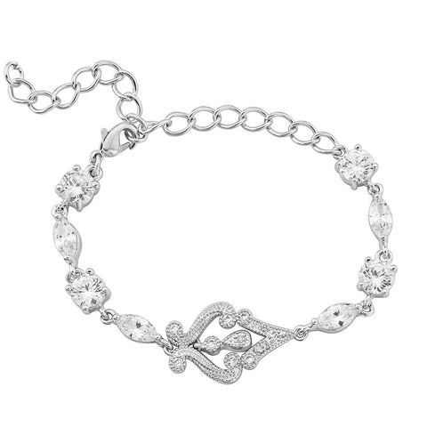 Fully adjustable crystal bracelet made with clear cubic zirconia and swarovski crystals on a rhodium plated silver finish.