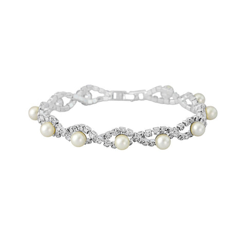 Caleigh Crystal and Pearl Bracelet