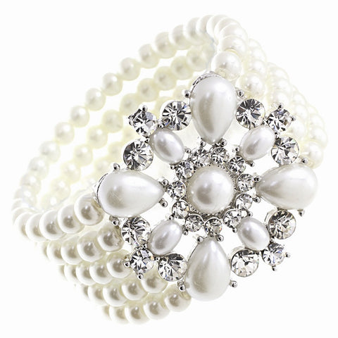 Pearl bracelet with five rows of pearls and a crystal brooch centre piece.