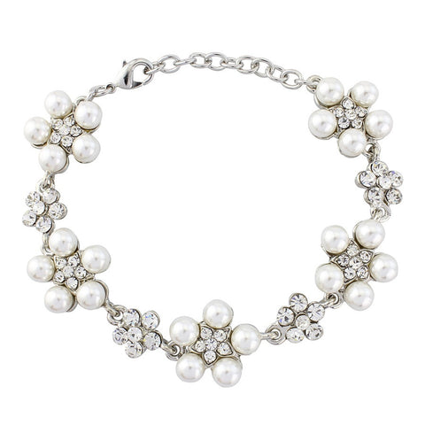 Crystal and pearl daisy bracelet made with ivory pearls and clear crystals, width 2cm.