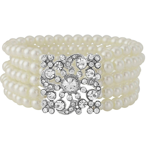 Stretch pearl bracelet made with five rows of glass ivory pearls and a crystal embellishment.
