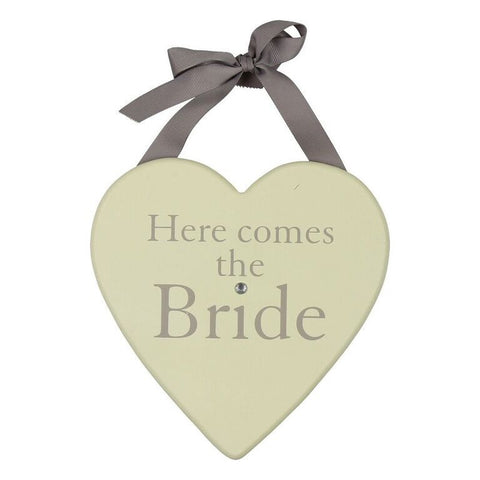 'Here Comes the Bride' Hanging Wooden Heart Sign