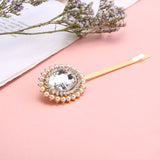 Ava Crystal & Pearl Flower Hair Clip - Available in Gold or Silver