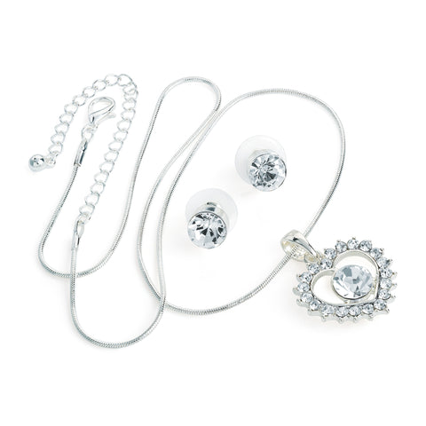 Crystal Heart Necklace & Earring Set