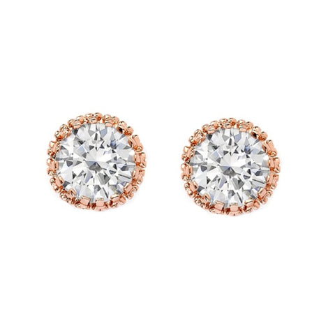 Crystal stud earrings made with clear cubic zirconia crystals and simulated ivory pearls on a rhodium plated rose gold finish, they measure 8mm round
