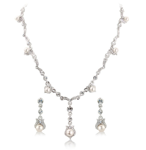 Becky Crystal and Pearl Necklace and Earrings Set