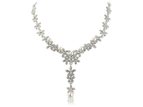 Faith Crystal and Pearl Necklace