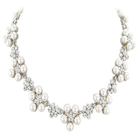 Crystal and pearl daisy necklace made with ivory pearls and clear crystals.