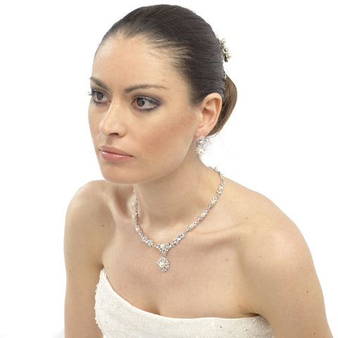 Zelda Crystal and Pearl Necklace and Earrings Set