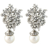 Dianna Pearl and Crystal Rose Earrings