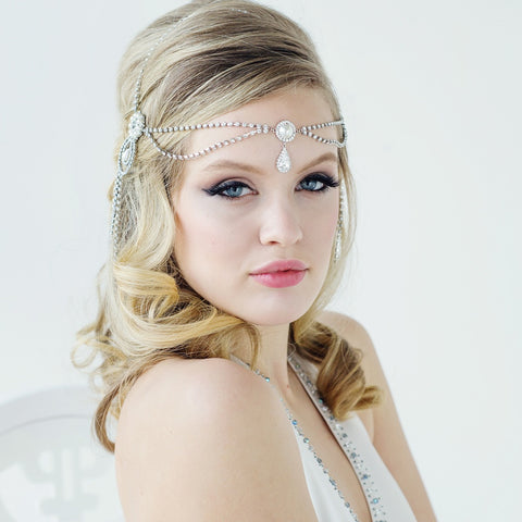 Melvina Crystal & Pearl Headdress Hair Piece