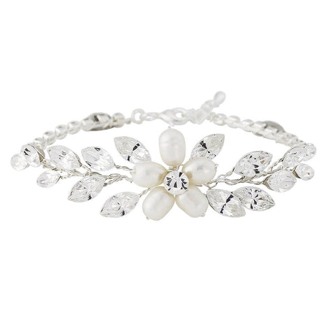 Crystal and pearl bracelet made with ivory simulated pearls, freshwater pearls and Austrian crystals plated in real silver, width 2cm
