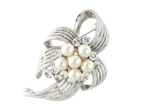 Primrose Crystal and Pearl Brooch