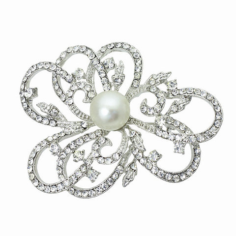 Tula Crystal and Pearl Brooch