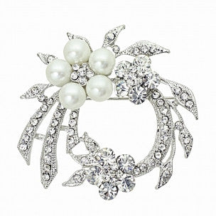 Valerie Crystal and Pearl Brooch