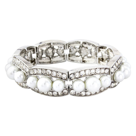 Pearl and crystal bracelet made from simulated ivory pearls and clear crystals.