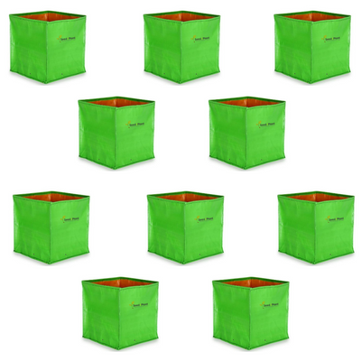 HDPE Square Grow Bag - 12x12x12 Inches (1x1x1 Ft) (Pack of 10) - 220 GSM