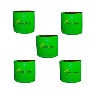 HDPE Round Grow Bag - 15x15 Inches (1¼x1¼ Ft) (Pack of 5) - 220 GSM