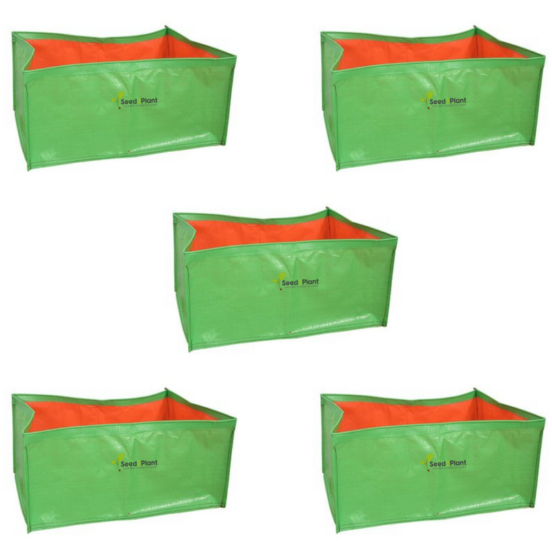 HDPE Rectangular Grow Bag - 18x12x12 Inches (1½x1x1 Ft ) (pack of 5) - 220 GSM