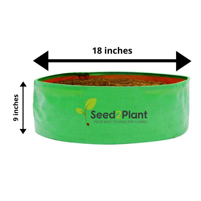 HDPE Round Spinach Grow Bag - 18x9 Inches (1½x¾ Ft) (Pack of 5) - 220 GSM