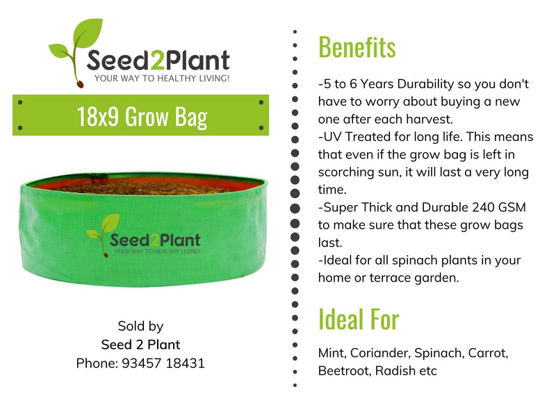 HDPE Round Spinach Grow Bag - 18x9 Inches (11⁄2x¾ Ft) - 220 GSM