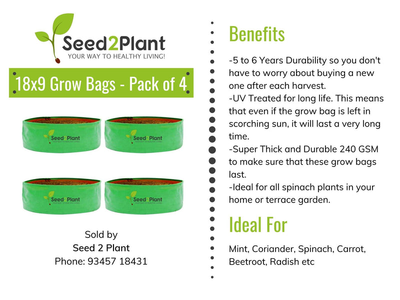 HDPE Round Spinach Grow Bag - 18x9 Inches (1½x¾ Ft) (Pack of 4) - 220 GSM