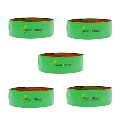 HDPE Round Spinach Grow Bag - 24x9 Inches (2x¾ Ft) (Pack of 5) - 220 GSM