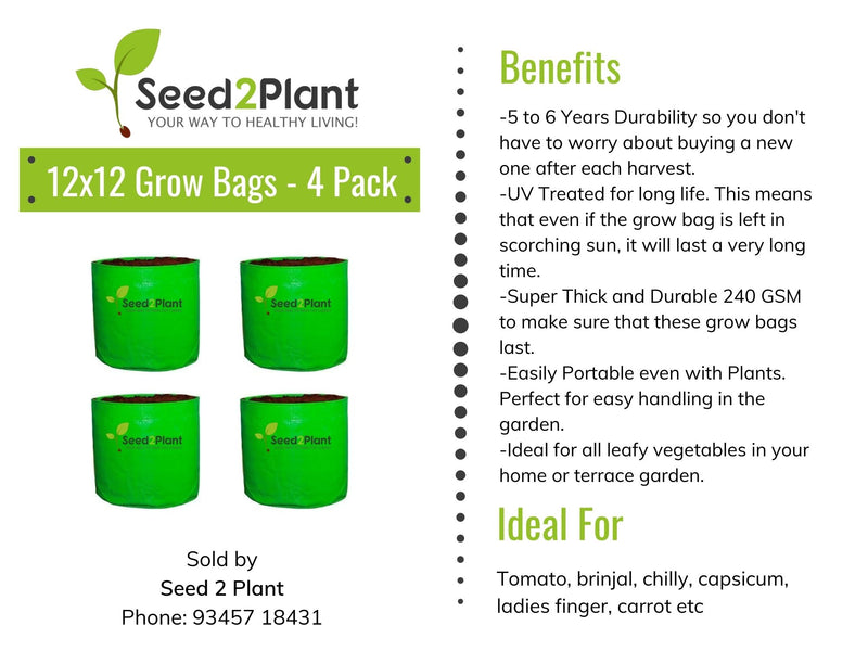 HDPE Round Grow Bag - 12x12 Inches (1x1 Ft) (Pack of 4) - 220 GSM