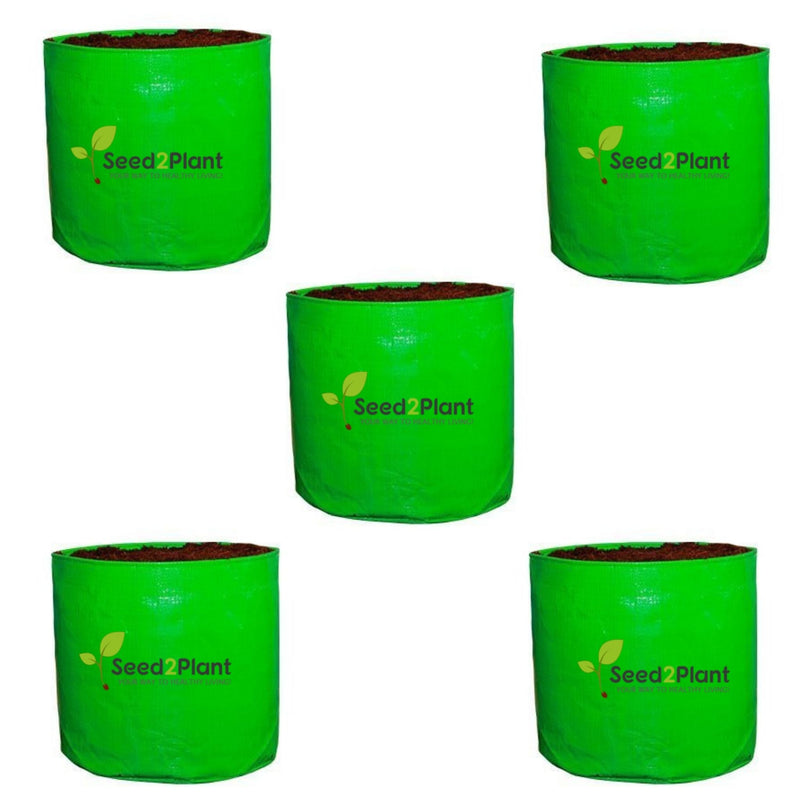 HDPE Round Grow Bag - 12x12 Inches (1x1 Ft) (Pack of 5) - 220 GSM