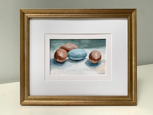 """Chicken Eggs""  Framed 4"" x 6"" Acrylic on Paper"