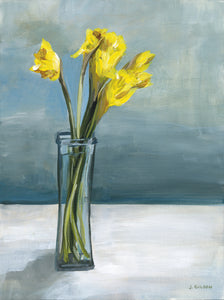 """Daffodils in March"" Framed 9"" x 12"" Acrylic on paper"