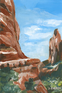 """Red Rocks 3"" 4"". 6"" Framed Acrylic on paper"