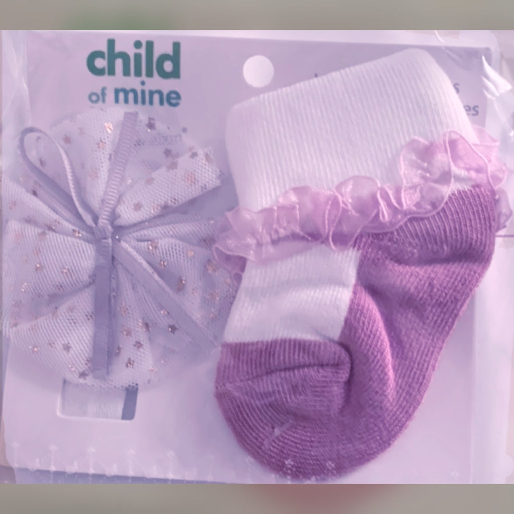 Jolie baby girl Princess ruffle socks and hairband