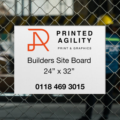 "1x Builders Site Board 24"" x 32"" - Printed Agility"