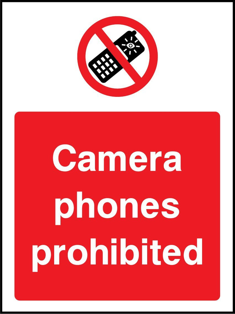 Camera Phones Prohibited Sign - Printed Agility