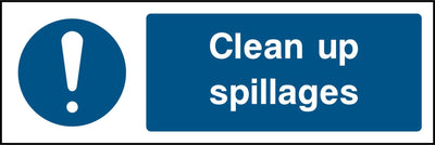 Clean Up Spillages Sign - Printed Agility