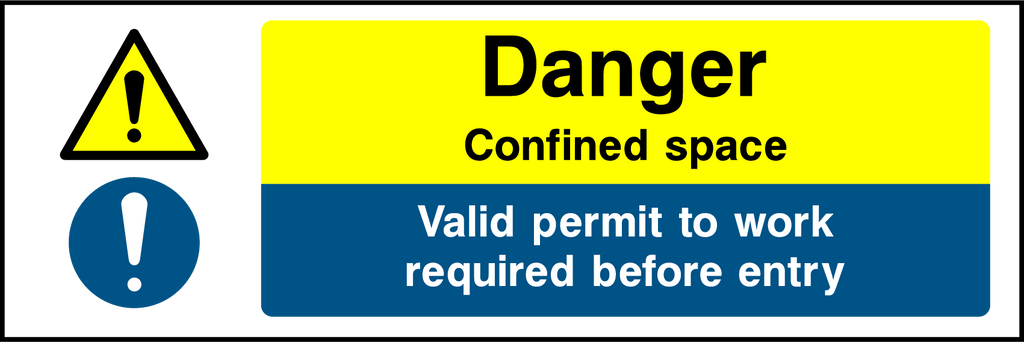Danger Confined Space Valid Permit Required Sign - Printed Agility