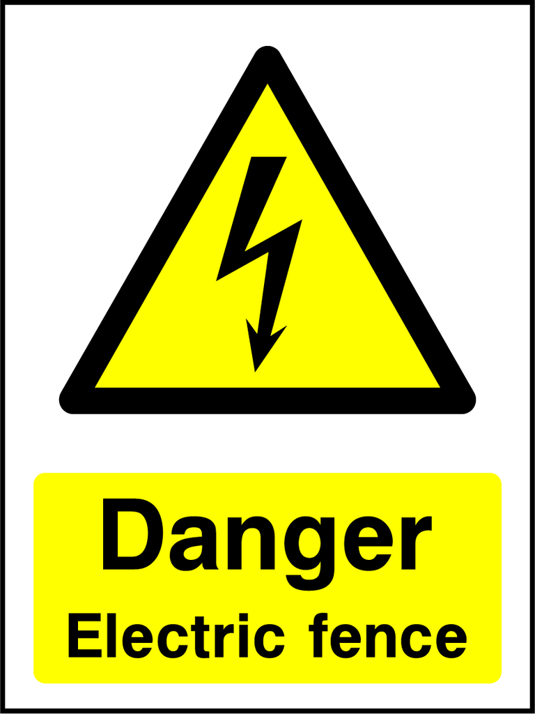Danger Electric Fence Sign - Printed Agility