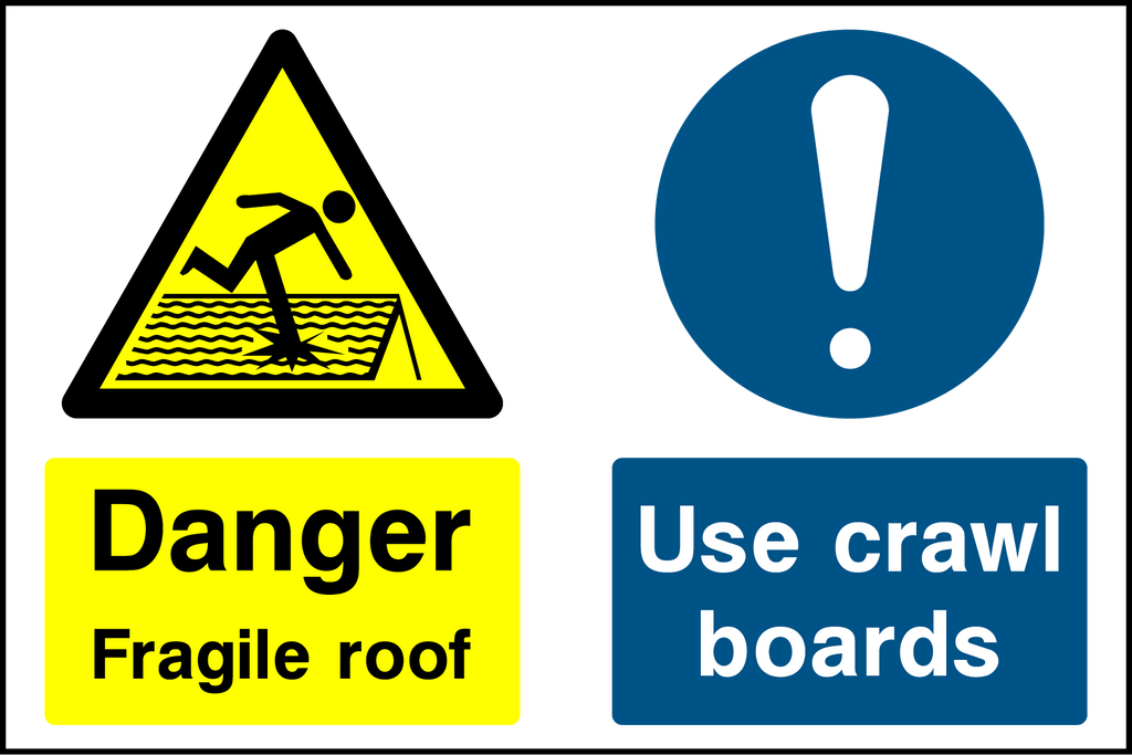 Danger Fragile Roof Use Crawl Boards Sign - Printed Agility
