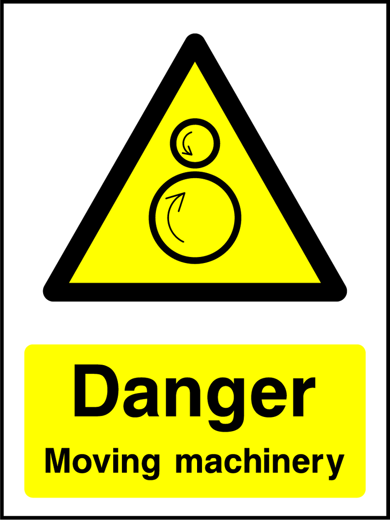 Danger Moving Machinery Sign - Printed Agility