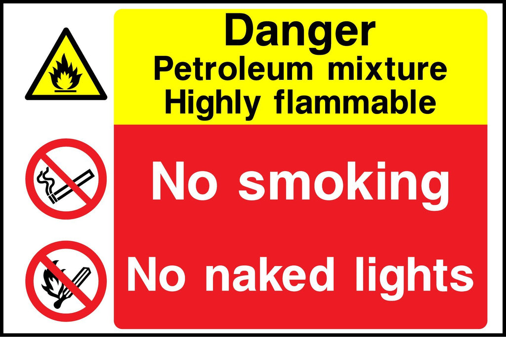 Danger Petroleum Mixture Highly Flammable, No Smoking, No Naked Lights Sign - Printed Agility
