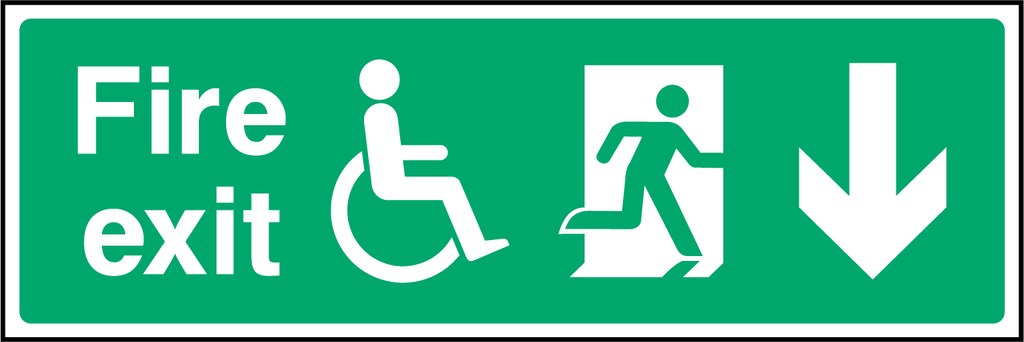 Disabled Fire Exit (Down) Sign - Printed Agility