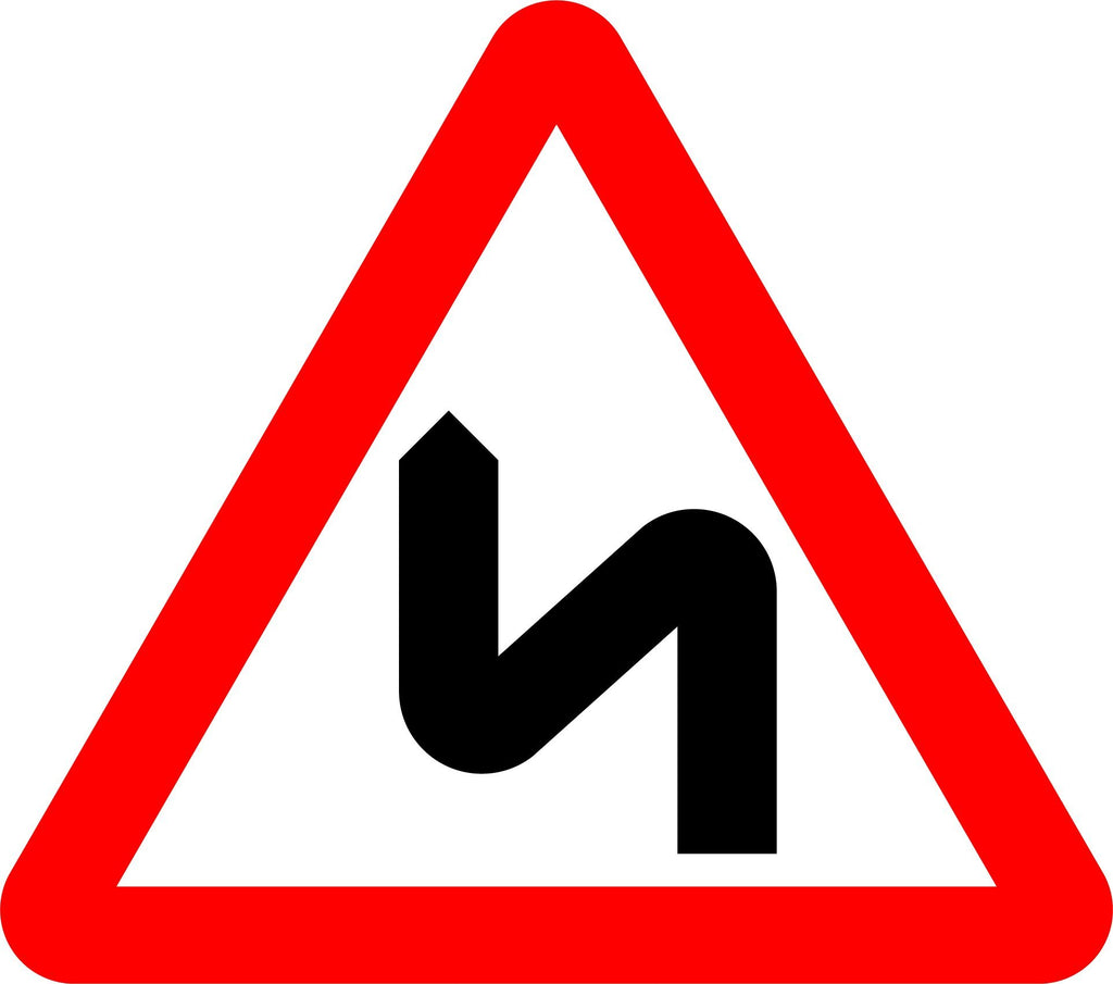 Double Bend / Series Of Bends Ahead, First To The Left Sign - Printed Agility