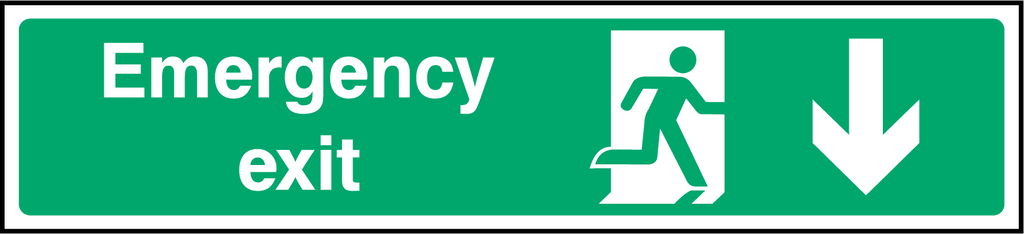 Emergency Exit (Down) Sign - Printed Agility